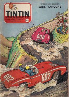 Revista Tintin 1957 - Autos en carrera de montaña Vintage Posters, Vintage Comics, F1 Posters, Superman, Batman, Motorcycle Posters, Ligne Claire, Car Illustration, Classic Comics