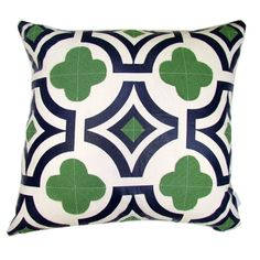 The kelly green in this pillow works nicely with navy! Gotta get it!