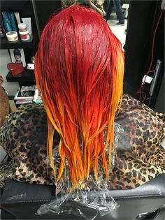 Sami Schneider ( of House of Color, Colorado Springs, CO, shares the details for this magical transformation:HAIR BACKSTORY: My client found me through social media (gotta love it) and sent me a photo from the one and only . Guy Tang, Fire Hair Color, Nordic Blonde, Good Dye Young, Flame Hair, Blow Hair, Sunset Hair, Fall Hair Colors, How To Make Hair