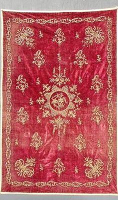 Late-Ottoman wall hanger, 19th century.  Metallic embroidery on velvet.