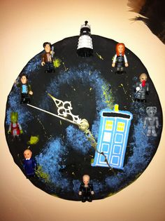 Doctor Who clock made out of modeling clay,paint,clock parts bought at Hobby Lobby,and doctor who Lego mini figures.
