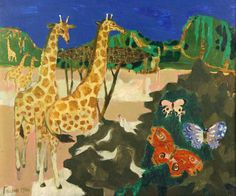 Mary Fedden ARR GIRAFFES, DOVES AND BUTTERFLIES IN AN AFRICAN LANDSCAPE #ukauctioneers
