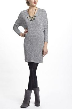 Metallic Dolman Sweater Dress. I'm starting to see the formula for my desires: Statement necklace, dress, tights, great shoes.