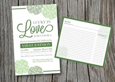 Lucky in Love invitation for your Irish-themed bridal shower! This 5x7 invitation was designed for easy DIY printing at home, or can be converted to pro printing! Listing also includes matching 4x6 recipe card! Visit my shop at https://www.etsy.com/shop/JkinDesigns!