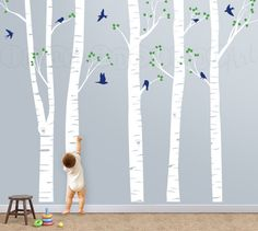 Birch Tree Decal with Flying Birds Birch Trees by InAnInstantArt, $80.00