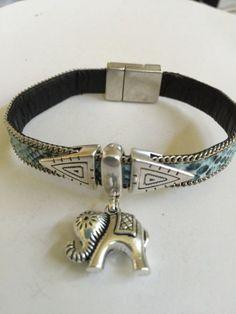 Silver Elephant and Three Slides Leather Bracelet by joytoyou41
