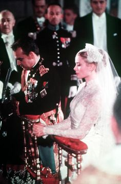 Prince Rainier of Monaco and Grace Kelly during their wedding service in Monte Carlo, Monaco on 19 April 1956