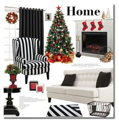"""""""Home for the Holidays"""" by mslewis6 ❤ liked on Polyvore featuring interior, interiors, interior design, home, home decor, interior decorating, Armen Living, Noir, DutchCrafters and Sun Zero"""