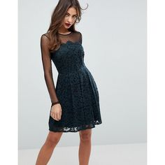 ASOS Lace & Dobby Mini Skater Dress (215 BRL) ❤ liked on Polyvore featuring dresses, black, sheer lace dress, party dresses, long sleeve mini dress, long sleeve prom dresses and prom dresses