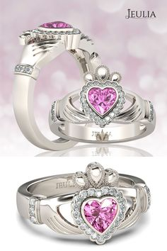 Heart Cut Created Pink Sapphire Rhodium Plated 925 Sterling Silver Claddagh Ring #jeulia