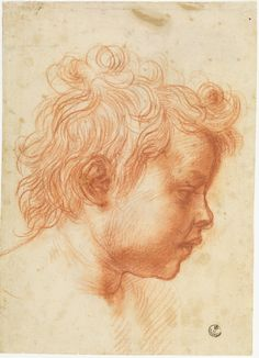 Andrea del Sarto (Andrea d' Agnolo), 1486-1530, Italian, Head of an Infant in Profile to the Right, c.1527.  Red chalk.  Gabinetto Disegni e Stampe, Gallerie degli Uffizi, Florence.  High Renaissance.