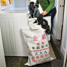 Reuse it Giant Laundry Bag, Recycled Rice Bag