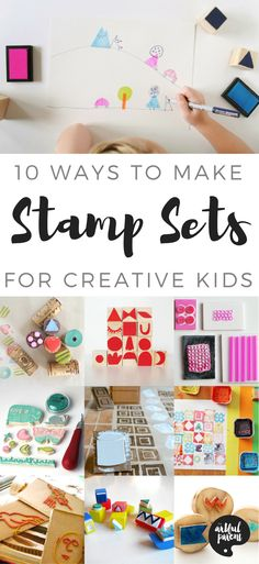 Want to make your own stamp set? Here are more than 10 ways to make great open-ended stamps that can be used in a variety of creative ways using foam, cardboard, erasers, and more!