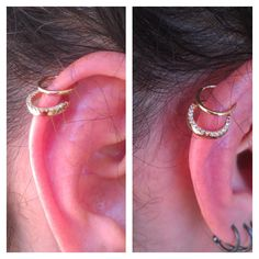 Double helix piercing by Bree with a pair of 18 karat yellow gold clickers from Maria Tash.