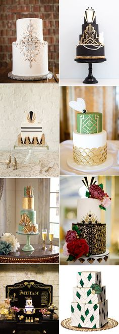 Beautiful Gatsby wedding cakes on GS Inspiration - Glitzy Secrets