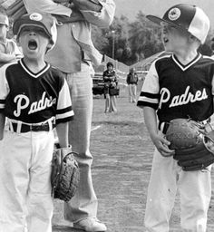 Sylmar Park Little League opening day. Michael Magdaleno (left) and John Strandquist at 8:00 a.m. on Saturday, April 8, 1978. San Fernando Valley History Digital Library.