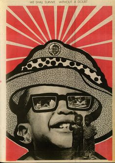 From 1967 to roughly 1980, Emory Douglas oversaw the art direction and production of The Black Panther, the party's official newspaper. Douglas's artwork in the paper played no small part in propagating its combative criticisms of the U.S. government, as well as any other institutions or persons the party viewed as perpetuators of racism, police brutality, poverty and global imperialism.