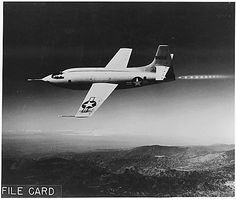 The XS-1 in flight, 1947.  The XS-1 was the first manned aircraft to go faster than the speed of sound.  In the records created by the High Speed Flight Station of NASA, held at the National Archives at Riverside.  Also, check out ARC—our online catalog—for a digital copy of this image, descriptions for records all over the US, plus much more.  Use the reference link for the image to get there.