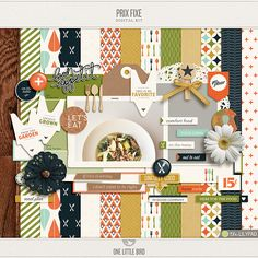 digital products relating to food - Prix Fixe | Digital Scrapbooking Kit | One Little Bird
