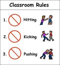 """Classroom rules - Use board maker (pricing and information on """"Communication"""" board) to create a simple visual representation of basic classroom rules."""