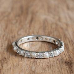 Diamonds and Pearls alternating eternity White Gold Ring by ARDONN on Etsy https://www.etsy.com/listing/466333104/diamonds-and-pearls-alternating-eternity