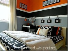 Paint ideas for boy's room - maybe blue on bottom, green on top? black or brown in middle?