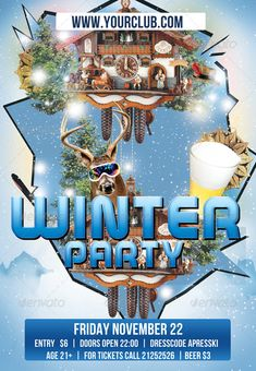 Winter Party Flyer Template PSD #design Download: http://graphicriver.net/item/flyer-template-winter-party/5963850?ref=ksioks