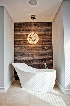Winter bath…love the wood wall.