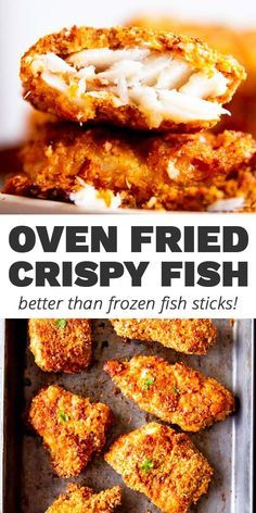 So much better than frozen fish sticks! This Crispy Oven Fried Fish gets super crunchy and will be a new favorite for kids and adults alike. Easy to make, healthier than fried fish (this one is breaded and baked!) and convinces even the pickiest eater! | #recipe #easyrecipe #fishrecipes #dinnerrecipes #easydinner