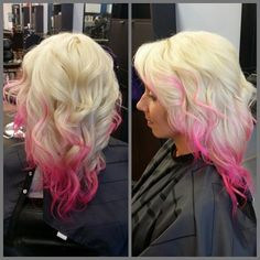 Hot pink hair ombré and highlights on platinum blonde :)