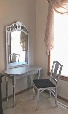 Vanity table DIY: Spray paint an old dresser mirror and table the same color to look like one piece of furniture!