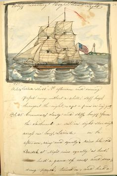 """""""Victress leaving Hog Island Light"""" Hand watercolor painted diary page. 1838-183, from Diary : Voyage of schooner Ajax from Philadelphia to Baltimore, Havana , Santiago and Cuba, kept by William H. Meyers."""