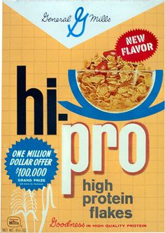 general mills cereal boxes | This is a box of hi-pro cereal from General Mills from late 1960 or ...
