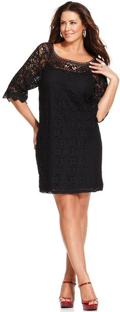 Plus Size Three-Quarter-Sleeve Lace Dress