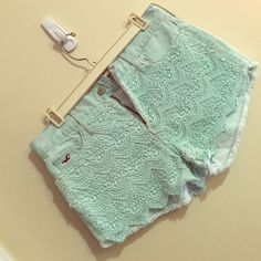 Light Teal Crocheted Jean Shorts Lightly worn, light teal Hollister crocheted Jean shorts! Perfect for any casual occasion Hollister Shorts Jean Shorts