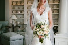 Alencon Lace Wedding Dress and a Fresh, Spring Bouquet