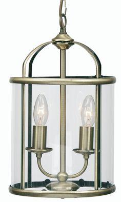 Antique Brass Clear Glass 2 Light Hanging Lantern