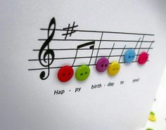 Happy Birthday Music Card - Birthday Card with Button Notes - Paper Handmade Greeting Card - Etsy UK by Nikelcards on Etsy Happy Birthday Music, 40th Birthday Cards, Handmade Birthday Cards, Birthday Greetings, Musical Birthday Cards, Diy Birthday, Musical Cards, Female Birthday Cards, Birthday Wishes