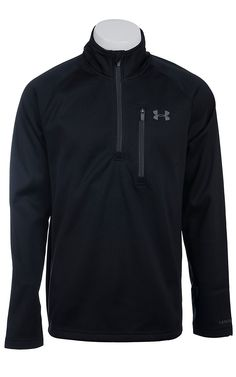 Under Armour® Cold Gear™ Men's Black Solid Quarter Zip Pullover Mens Outdoor Fashion, Mens Golf Fashion, Revival Clothing, Work Shirts, Golf Outfit, Outerwear Women, Under Armour, My Style, How To Wear