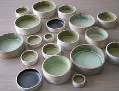 Stephanie Basralian Ceramics - Bowls: tabletop grouping, straight