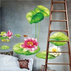 New Arrival Fantastic and Fancy Lotus Wall Stickers