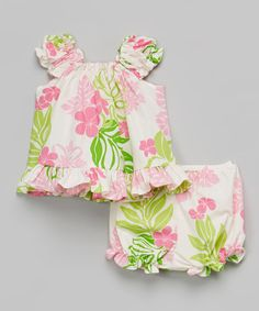 Another great find on #zulily! Beige Lei Ruffle Dress & Bloomers - Infant & Toddler #zulilyfinds