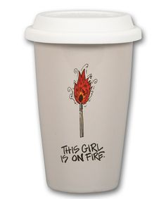 Look at this 'Girl on Fire' 14-Oz. Ceramic Travel Mug on #zulily today!