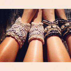 Beaded cowrie shell ankle cuffs. Gold Ordon