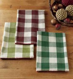 Buffalo Check Dishtowel, by Tag. Classic large, buffalo-style woven check dishtowel with blanket-stitched edge. Sold individually - Choose (from left to right) the Light Olive, Cordovan, or Grass Green Towel. 100% cotton, machine washable. Measures 18 x 26 inches. Part of the Harvest Market Collection. Other items also available! Buffalo Check Curtains, Harvest Market, Fall Table, Pumpkin Decorating, Dish Towels, Kitchen Towels, Fall Decor, Grass