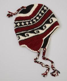 White & Burgundy Vutta Braided Wool Earflap Beanie by Windhorse #zulily #zulilyfinds