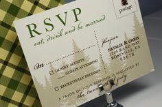 Lake Tahoe Cabin Wedding Invitation by seahorsebendpress on Etsy