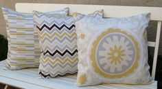 Decorative Pillows Throw Pillow Covers, Accent Pillows 20 x 20 Inches Trio of Pillow Covers Neutral Collection