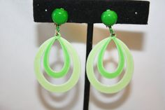 Vintage Green Enamel Earrings Hoop Drop Dangle 1950s  by patwatty, $5.00