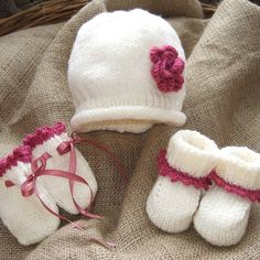 Hand Knitted Baby Beanie, Mittens And Bootees